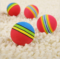 Wholesale 500pcs HOOPET Diameter of mm Super Q Rainbow Ball Small Dog Cat Toy Pet EVA Toys Golf Practice Balls g