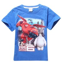 Wholesale 2 colours New Boy Kids Big Hero Baymax T Shirt Cartoon Short Sleeve Top Tees
