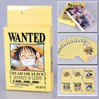 board game pieces - 2015 NEW Anime One Piece Luffy Wanted Collection Poker Cards pack Playing Cards Cosplay Board Game Cards With Box Free chipping