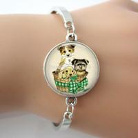 art easter basket - Dog doggie Bracelet Dog lover Jewelry Dog in basket rescue dogs Glass dome art bangle bracelet one piece DOG01