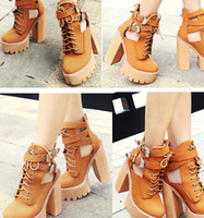 Wholesale New Jeffrey Campbell Abner Platform Boots Strap And Buckle Side Cutouts Lace Up Lug Sole Platform Chunky Heel Booots