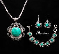 Wholesale Trendy Women flowers tibetan silver Turquoise Crystal Jewelry Sets party wedding women gift Jewelry Sets set