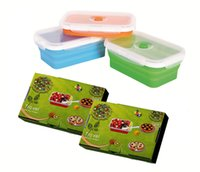 Wholesale Collapsible Silicone Lunch Box ML FDA Fit For Diswasher Freezer Microwave Oven PC Spoon Freeshipping PC Summer Promotion