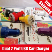 Cheap HOT SALE Universal Dual 2 Port USB Car Charger With Package for iphone ipod ipad Retail & Wholesale Free Shipping by FedEx