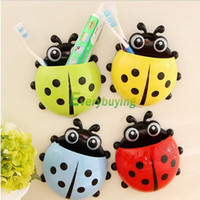 bamboo toothbrush holder - Lovely Cup Bathroom Toothbrush Stuff Ladybug Wall Suction Organizer Holder HSLN