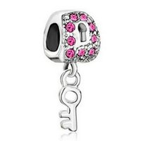 access food - Fits Pandoar Bracelets DIY Unique Jewelry Loose Pink Key Charm beads Fit Pandora Bracelet Necklace Pendant Original Jewelry Access