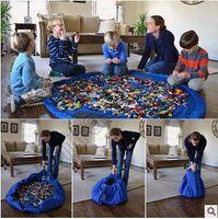 10pcs CCA3498 coloré Baby Play Mat 150cm tapis de jeu sac de stockage de jouets Portable jouets sac de rangement couverture tapis jouets Organisateur Cadeau de Noël