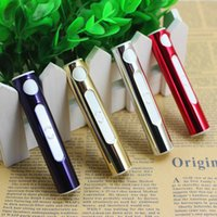 Wholesale Windproof Lipstick Cigarette Lighters Creative USB Charging Electronic Butane Cigarette Lighters for Ladies Metal Material