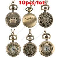 Wholesale 10pcs New hot selling Fashion Bronze Steampunk Quartz Necklace Pendant Chain Clock Pocket Watch types