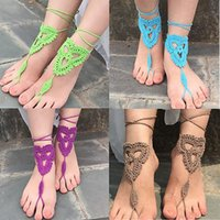 Wholesale Fashion Barefoot Sandals Crochet Cotton Foot Jewelry Anklet Bracelet Ankle Chain