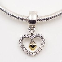 925 sterling silver charms - Silver and K Gold Forever in my heart Charm Dangle charm Sterling Silver Charms European Bracelet DIY Jewelry AC3497