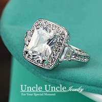 class ring - Luxury K White Gold Plated Top Class Austrian Rectangle Clear Crystal Lady Wedding Ring