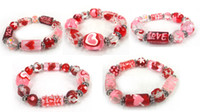 Wholesale new arrival fashion Valentine s day lover glass heart bracelet design assorted
