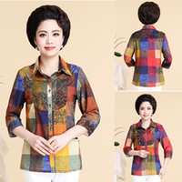 button down shirt - Summer Shirts Plaid Turn Down Sleeve Fashion Women Clothing Single breasted Slim Cozy Mother Shirts Embroidery Clothes Large Size
