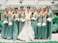 Wholesale Cheap Mint Long Sweetheart Bridesmaid Dress Floor length Chiffon Lace Up Maternity A Line Aqua Sage Elegant Custom Made Wedding Party Dress