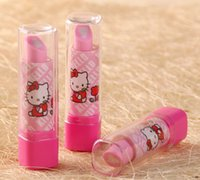Wholesale eraser lipstick shape screw up and crew down function cartoon eraser cartoon rubber students favors