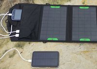 Wholesale Outdoor travel explore Solar Charger portable folding W two USB socket solar charger for all Notebook Mobile Phone Power Bank Charging