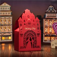 Wholesale 2015 Junoesque Red Laser Cut Wedding Favor Holders Gift Boxes Party Birthday Paper The Castlel Model Hollow Hot Stamping Candy Bags Romantic