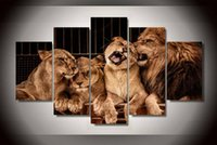 animal zoo pictures - 5Pcs With Framed Printed Lion Zoo Painting children s room decor print poster picture canvas vintage home decor