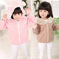 Wholesale 2015 Girls clothing hooded Coats Outwear long sleeve solid thicken fleece cashmere zipper kid clothes children wear Winter