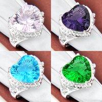 Mexican amethyst swarovski crystal - Heart Swarovski Crystal Sparking Gifts Honey Voyages Glaring Pink Topaz Amethyst Quartz Gemstone Wedding Rings