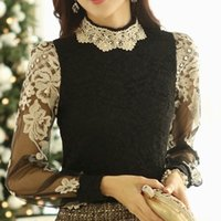 Cheap women's shirts blusas de renda new arrival 2015 casual floral beading turtleneck camisa renda blusa com renda women blouses