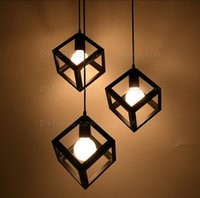 industrial material - Vintage American country style small black cube cage retro pendant lights industrial lighting black white red color iron material
