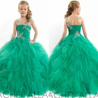 Wholesale 2015 Ball Gown Girls Flower Dresses Floor Length Tulle Puffy Crystals Sheer Neck Pageant Dresses For Girls Lovely Kids Dresses For Wedding