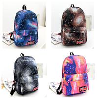 Wholesale 2016 Spring New Arrivals College Style student Backpack Printing outerspace School Bags Milky Way starry sky Schoolbag
