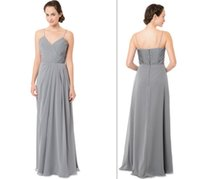 Wholesale 2016 New Arrival Chic Spaghetti Strap Pleated Long Grey Chiffon Pleated Bridesmaid Dress Simple And Cheap Bridesmaid Dress