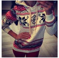christmas jumpers - Women Hoodie Christmas Xmas Jumper Top Harajuku Snowflake Printed Sweatshirt DH04