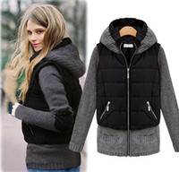 Wholesale Womens winter Jackets warm Hooded long sleeve Knit cuff Down Jackets Coat Outerwear cotton padded Panelled clothes Drop Shipping