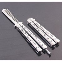Wholesale New Practice Balisong Butterfly Knife Style Metal Trainer Tool Comb Shape K024