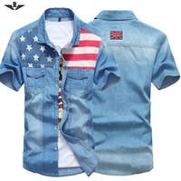 Wholesale summer style Fashion men shirt striped shirt men denim shirts Short sleeved Flag Male Casual fitness camisa masculina