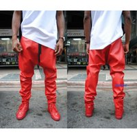 baggy trouser men - fashion brand men leather pant trouser red pu calca swag trousers baggy hip hop tyga harem streetwear
