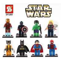 Wholesale Super heroes minifigure The Avengers figures SY180 learning eductional plastic building block sets toys Compatible With Lego0