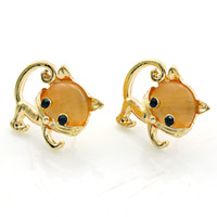 14k gold earrings - Fashion Exquisite Stud Earrings New Lovely Gold Plated Brown Crystal Cat Earrings For Women Luxury Jewelry
