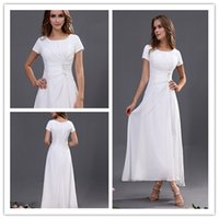 Cheap 2015 high-necked short-sleeved chiffon formal evening dresses vintage prom dress heel length dress for wedding parties free shipping dress