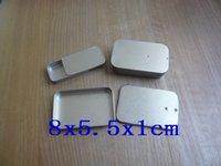 Cheap Free Shipping 8x5.5x1cm Tins Cases slide top lid mint tin salve silver matting 55pcs lot