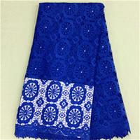 al por mayor vestidos de encaje guipur-Cordón francés excelente del guipure del azul real con la tela soluble en agua africana del cordón de la flor y de los granos para el vestido BW64-6.5yards / pc