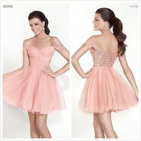 Wholesale 2015 Tarik Ediz Off the Shoulder Cocktail Dresses Lace Hollow Back A Line Short Prom Party Gowns Wear Homecoming Graduation Dresses