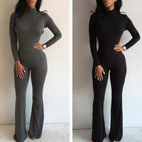 Wholesale 1602 Elegant Women Jumpsuit Long Sleeve Turtleneck Rompers Womens Jumpsuit Slim Fit Bodysuit Overalls For Women Playsuit