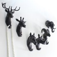 Wholesale Europe Style Hanger Decor Wall Home Kitchen Bathroom Animal Head Crafts Robe Hooks Wall for Hanging Coat Hat Bag black