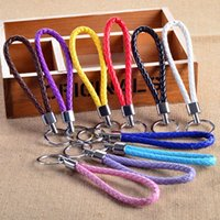 Wholesale Hot sale Keychains colorful PU leather braided keychain Key Ring keyfob Cute Promotion Gifts keychains CHR