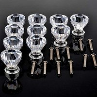 Wholesale 10 Clear Crystal Glass Door Knobs Furniture Drawer Cabinet Kitchen Handles