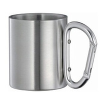 Wholesale 100pcs very cheap Stainless Steel Coffee Mug Camp Camping Cup Carabiner Hook Double Wal mug