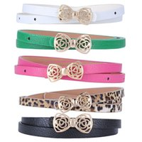 Wholesale Fashion Women s Lady PU Leather Thin Narrow Bowknot Waist Belt Waistband Strap Multi Color Simple Style FYMHM089A1
