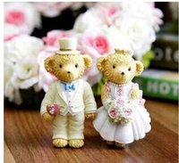 Wholesale Rural Wedding Dress Cute Cartoon Bear Resin Figurines Set for Home Decoration Fridge Magnets Christmas Decoration