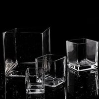 Wholesale of European clear glass vase square type craft glass hydroponic transparent square cylinder vase