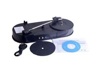 Wholesale Newest USB Portable Mini Phonograph Vinyl Turntable Audio Player Vinyl Turntable to MP3 WAV CD Converter RPM Black D5206A